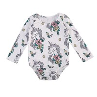 Baby Clothing Newborn Baby Girls Unicorn Flower Romper Long Sleeve Clothes One-pieces Sunsuit Cloting