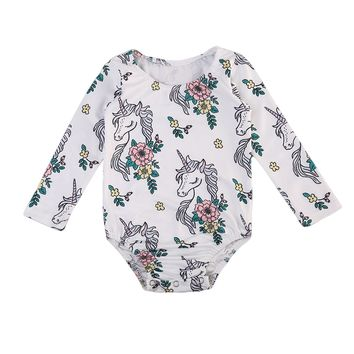 Newborn Baby Girls Unicorn Floral Romper Long Sleeve Jumpsuit Clothes Outfits