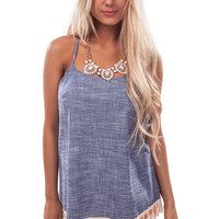 Blue Denim Fringe Detail Tank