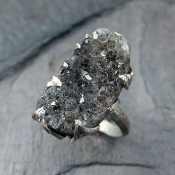 Black Druzy Agate Crystal Cluster Ring Recycled Sterling Silver Gemstone One of a Kind Ring  byAngeline