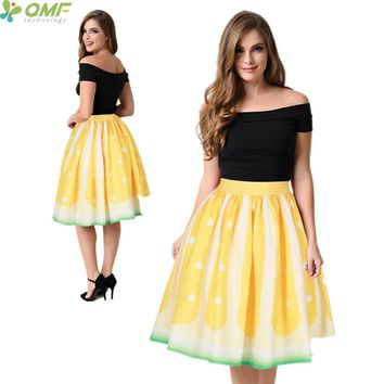 Harajuku Lemon Sports Skater Skirts Womens Swing Knee-Length Tennis Skirt Yellow Golden Lemon A-Line Pleated Skirts Flared