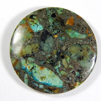 1 Pc - 40x40x7mm Turquoise And Pyrite Pendant Bead - Gemstone Pendant - Focal Bead - Gemstone Beads - Jewelry Supplies