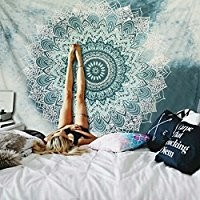 """SENGE Indian Mandala Tapestry Wall Hanging Flower Psychedelic Bohemian Tapestries for Room Multi Color 51""""X 59"""""""