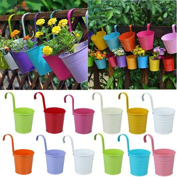 10pcs/set Candy Colors Flower Metal Hanging Pots Garden Balcony Wall Vertical Hang Bucket Iron Holder with Removable home Decor