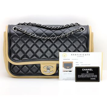 Chanel Jumbo Classic Quilted Flap Bag Two Tone Black/Beige with Silver Hardware