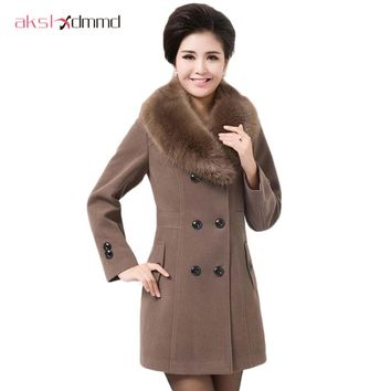 2016 winter coat women thick women's fashion outerwear Double Breasted fur collar plus size wool coats for women XL-5XL D025