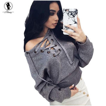 2017 New sale fashion women sweaters 5 concise solid colors V-neck long section knitted  pullover loose sexy belt wild pullovers