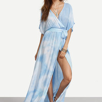 Boho Summer Blue Tie-dye Wrap Front Maxi Dress With Belts
