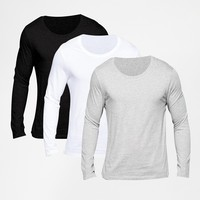 ASOS Long Sleeve T-Shirt With Scoop Neck 3 Pack SAVE 21% at asos.com