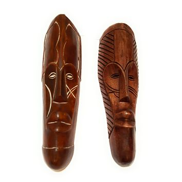 "12"" - 13"" African Gabon Cameroon Wood Fang Mask: Brown"
