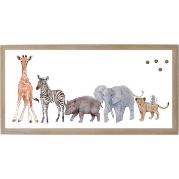 Baby Jungle Animals Animal Family Spread Rustic Brown Frame