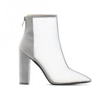 CINTHIA MESH FRONT ANKLE BOOTS IN GREY FAUX SUEDE