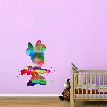 kcik2127 Full Color Wall decal Watercolor Character Disney Minnie Mouse children's room Sticker Disney
