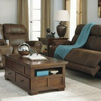 2 pc Austere collection brown fabric upholstered power motion sofa and love seat set with recliners on the ends