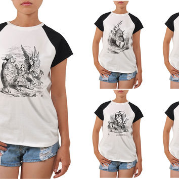 Women's Alice in Wonderland Printed Short Sleeves Tee T- Shirt WTS_04