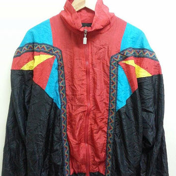 Vintage AIGEE Royalty Swag Baroque Neon Colourfull Winbreaker Nylon Hip Hop Bomber Jackets