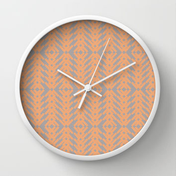 Peach and Gray Tribal Pattern Wall Clock by Nikki Neri