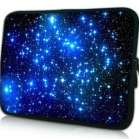 MyGift® 13 inch Endless Universe Twinkling Blue Stars DOUBLE Sided Print Laptop Carrying Case for Macbook Air / Pro, Acer, Asus, Dell, HP, Sony