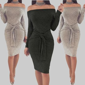 Fashion Casual Spring Summer Women Ladies Dress Long Sleeve Off Shoulder Slash Neck Skinny Solid Sashes Bow Knee-Length Dress