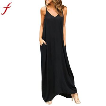 2017 Summer Bohemian Dress Womens Sleeveless Hippie Boho Party Beach PocKet Solid Long Maxi Dress Vestidos