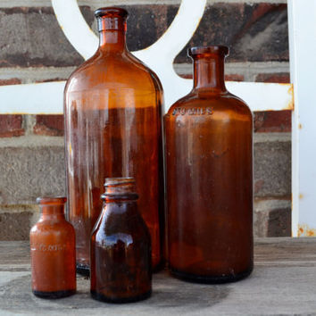 Four Amber Medicine Bottles and Clorox Bottle 1930-40's