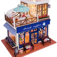 Wooden Irish Coffee Shop Doll House Miniature with Lights and Furniture DIY Model Kit
