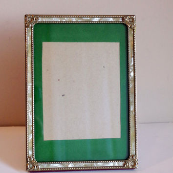 Vintage Gold Picture Frame with Inlaid Lucite- 5 x 7 Inch Decorative Glass Frame- Art Nouveau Style Home Decor / Easel Stand Table Frame