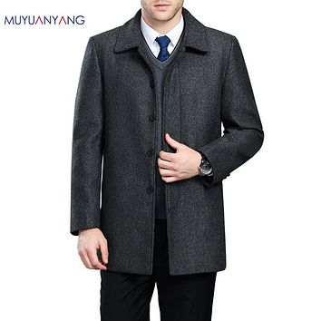 Men's Jackets Coat Winter Long Woolen Snow Coat For Men Wool Jackets Coat Collar Single Breasted Overcoat
