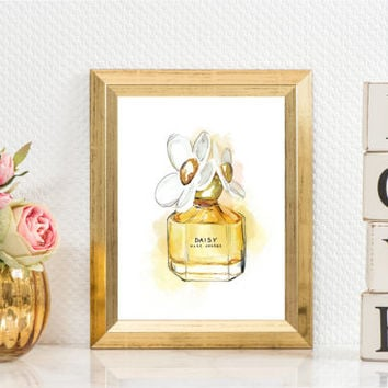 Daisy by Marc Jacobs Black Perfume Bottle Watercolor Art Watercolor Print Perfume art cosmetic watercolor