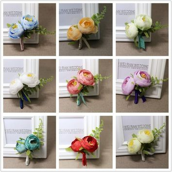 1PCS Man Corsage Silk Rose Pin Brooch Wedding Flowers Boutonniere Suit