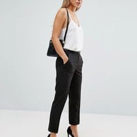 ASOS PETITE Cigarette Trousers With Belt at asos.com