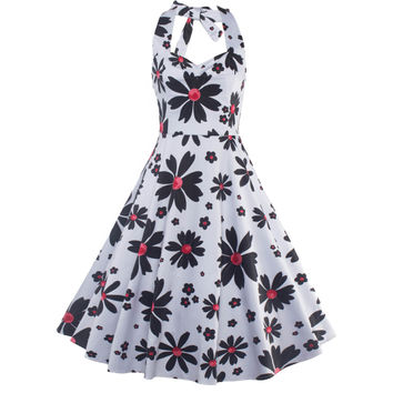 Women Vintage Style Floral Printed 50'S 60'S Swing Pinup Retro Party Housewife Sleeveless Backless Halter Dress