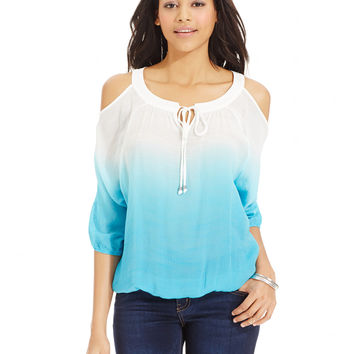 BCX Juniors' Ombre-Print Shoulder-Cutout Top