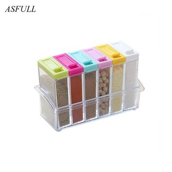 Kitchen use seasoning box set of kitchen supplies seasoning bottles 6 plastic containers can be loaded with spices free shipping