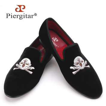 Men Velvet Slippers Embroidered Loafers Shoes with Skull-face Pattern Men Party and Wedding shoe