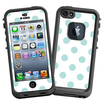 Mint Polka Dot on White Skin for the iPhone 5 Lifeproof Case by skinzy.com