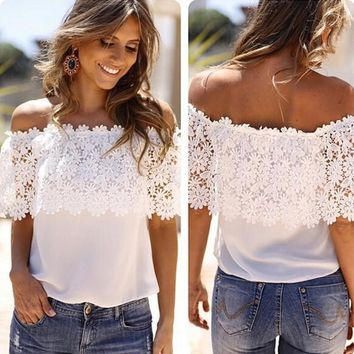 White Patchwork Lace Boat Neck Off Shoulder Chiffon Cute T-Shirt