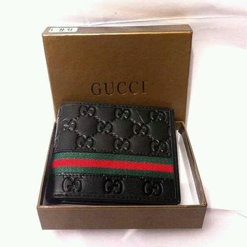 Authentic Gucci Men's Black Leather Guccissima Wallet Green Red wallet wish box