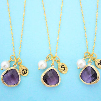 Set of 1-4, Personalized, Letter, Letter, Initial, Stone, Color, White, Pearl, Gold, Necklace, Sets, Wedding, Bridesmaid, Gift, Set, Jewelry