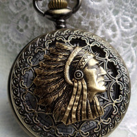 Indian head pocket watch,  men's indian pocket watch with black and bronze beads on watch chain