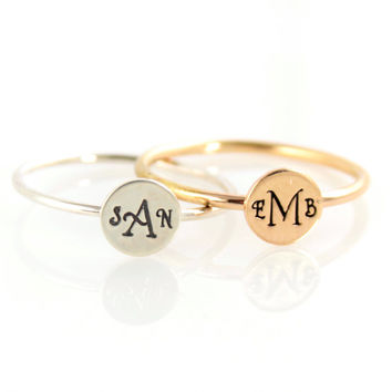 Monogram Stacking Ring - Initial Ring - Personalized Ring - Gold Ring - Bridesmaids Gift