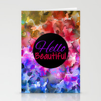 HELLO BEAUTIFUL Colorful Art Typography Inspirational Abstract Watercolor Painting Ombre Rainbow Stationery Cards by EbiEmporium