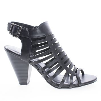 Russell Black Pu By Classified, Gladiator Strappy Open Toe Sling Back Stacked Heel Sandals