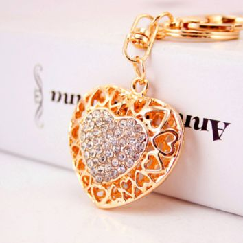 Clear Hollow Out Love Heart Key Chains Rings Holder For Lovers Sweetheart Pendant For Car Rhinestone Keyrings KeyChains