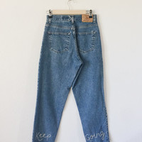 "Vintage high-waisted jeans embroidered ""Keep Going"" pant leg / size 25, 00-1 / Vintage Eddie Bauer denim jeans"