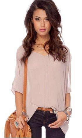 Taupe Blouse Short Sleeve 47