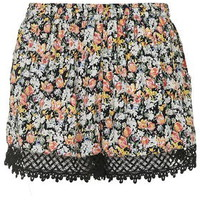 TALL Floral Lace Trim Shorts - Black