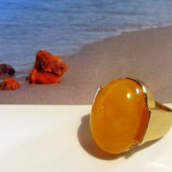 Yellow Amber Ring 15.0 gr. 14k gold plated gift oval shape egg yolk butterscptch 19 mm diameter (size 9 US) for adult women