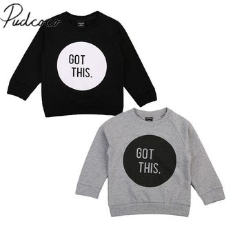 Pudcoco Kid Boy Girl Pullover Long Sleeve Casual Hoodie T Shirt Tops Baby Sweatshirt Clothes 1-6Y