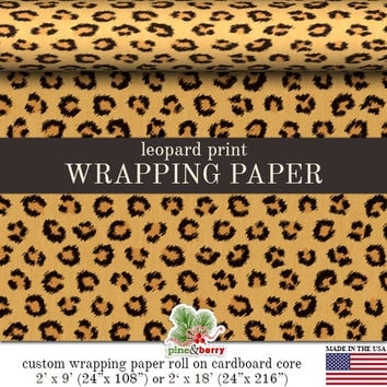 Leopard Print Wrapping Paper | Custom Animal Print Gift Wrap Paper  Roll 9 feet or 18 feet  Great For Any Occasion.